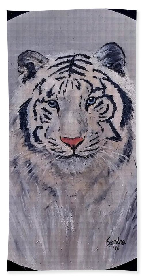 White Tiger Hand Towel featuring the painting Here I Am by Sandra Maddox