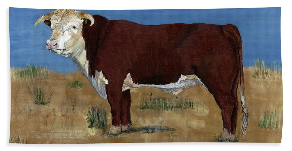Cow Hand Towel featuring the painting Hereford by Sara Stevenson