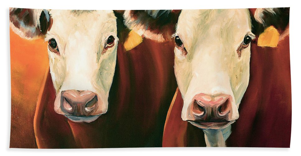 Cows Hand Towel featuring the painting Herefords by Toni Grote