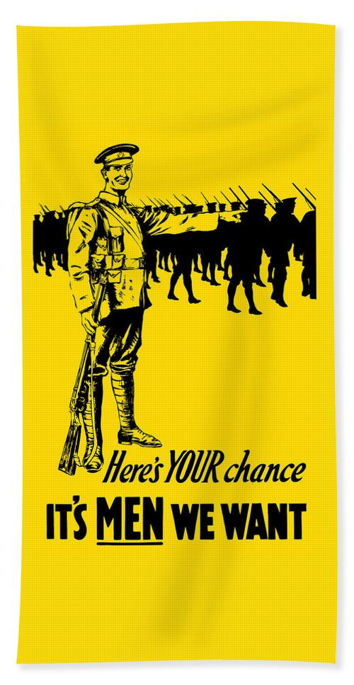 World War One Bath Sheet featuring the mixed media Here's Your Chance - It's Men We Want by War Is Hell Store