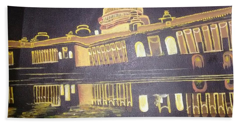Bath Sheet featuring the painting heritage of india - The president house by Monika Joshi