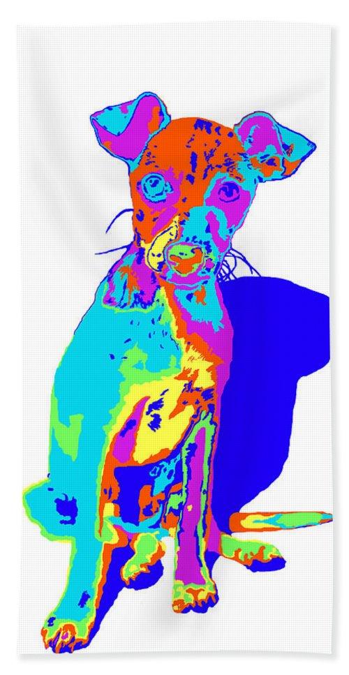Original Art Work Bath Sheet featuring the digital art Hermana Muy Curiosa by Laurette Escobar