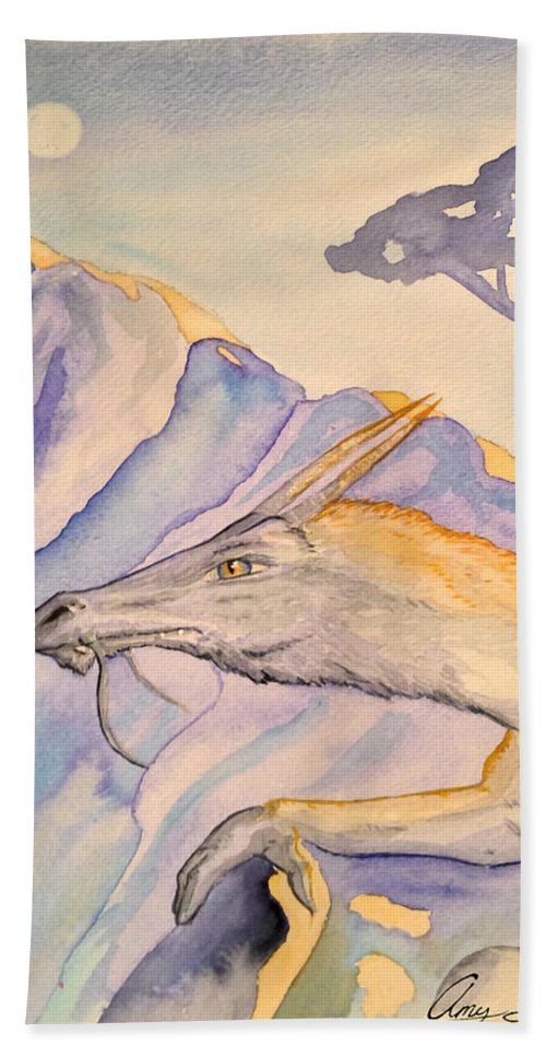 Hermit Hand Towel featuring the painting Hermit by Amy Lionheart