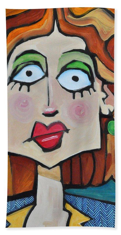 Herringbone Hand Towel featuring the painting Herringbone by Tim Nyberg