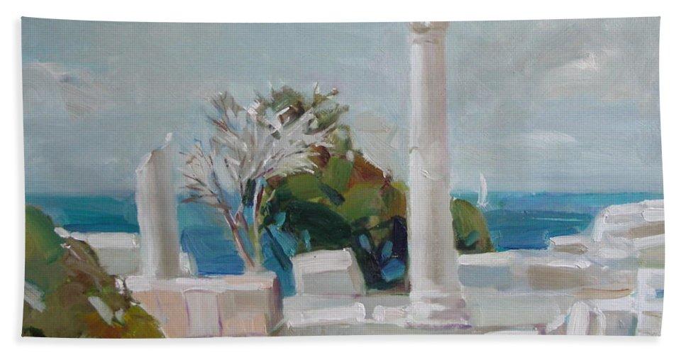 Ignatenko Bath Towel featuring the painting Hersoness by Sergey Ignatenko