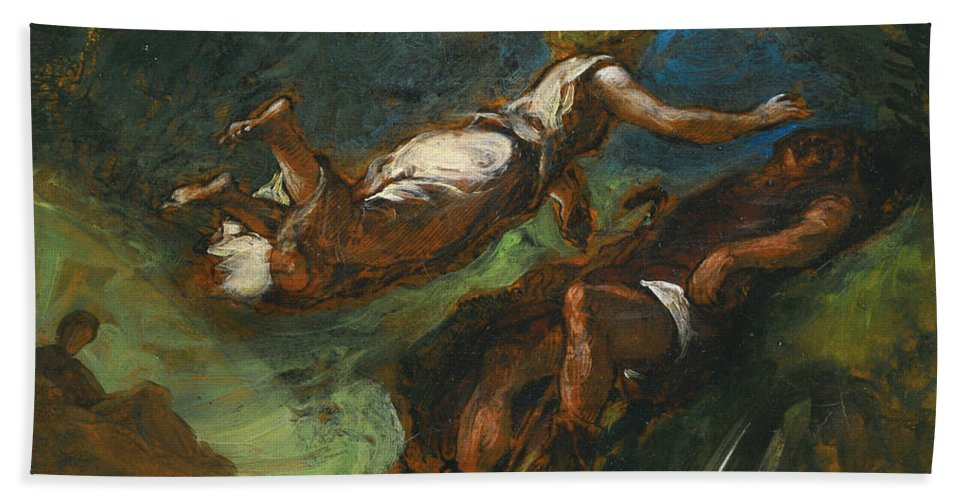 Eugene Delacroix Hand Towel featuring the painting Hesiod And The Muse by Eugene Delacroix