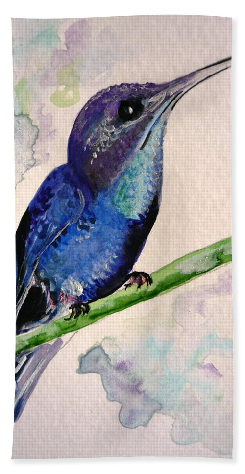 Hummingbird Painting Bird Painting Tropical Caribbean Painting Watercolor Painting Bath Towel featuring the painting hHUMMINGBIRD 2  by Karin Dawn Kelshall- Best