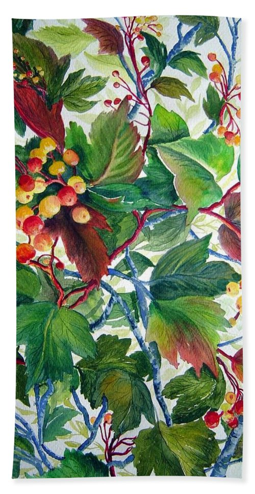 Hi Bush Cranberries Hand Towel featuring the painting Hi-bush Cranberries by Joanne Smoley