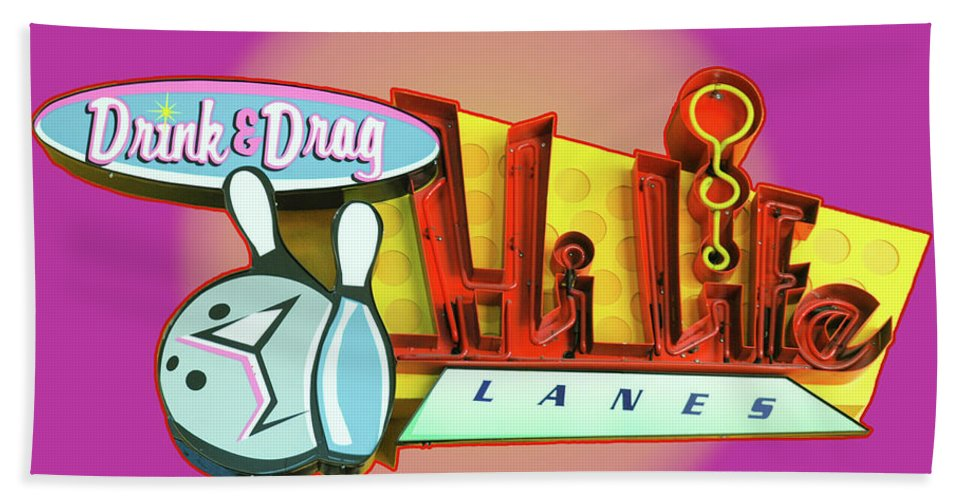 Bowling Hand Towel featuring the photograph Hi Life Drink And Drag by Jeff Burgess