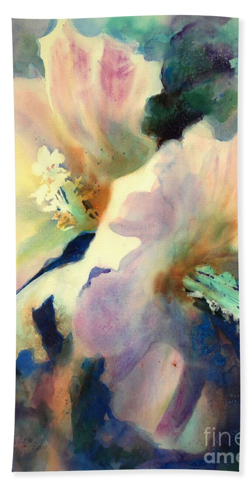 Painting Bath Towel featuring the painting Hibicus Up Close by Kathy Braud