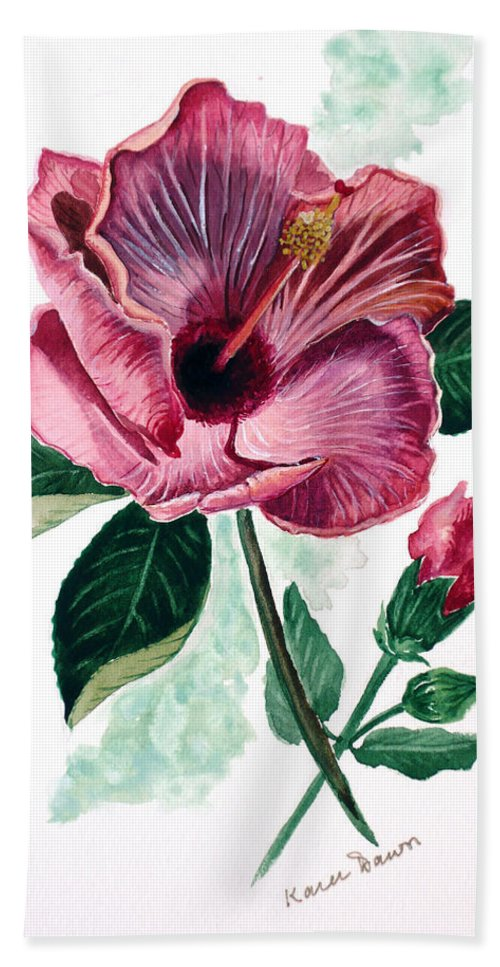 Flora Painting L Hibiscus Painting Pink Flower Painting Greeting Card Painting Bath Sheet featuring the painting Hibiscus Dusky Rose by Karin Dawn Kelshall- Best