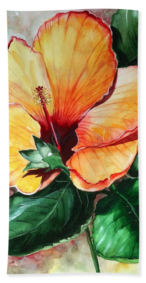Flower Paintings Bloom Paintings Caribbean Paintings Floral Paintings Tropical Paintings Yellow Hibiscus Paintings Greeting Card Paintings Canvas Print Paintings Poster Art Paintings Bath Sheet featuring the painting Hibiscus Sunny by Karin Dawn Kelshall- Best