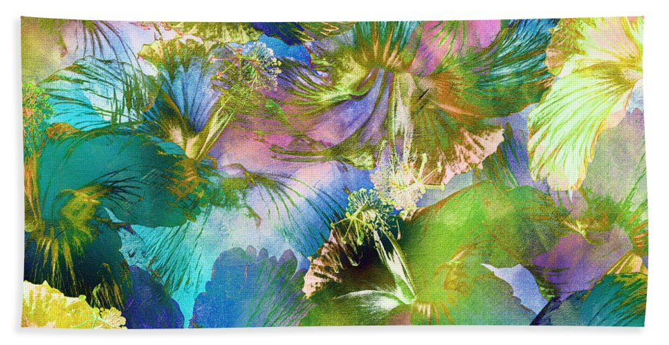 Abstract Bath Sheet featuring the digital art Hibiscus Trumpets by Klara Acel