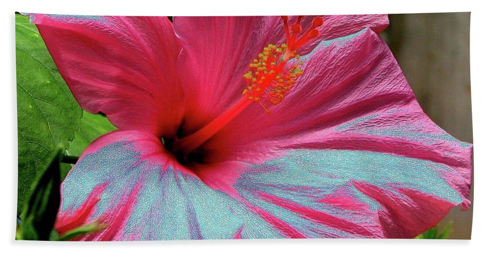 Solarized Hand Towel featuring the photograph Hibiscus With A Solarize Effect by Rose Santuci-Sofranko
