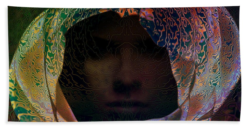 Face Hand Towel featuring the digital art Hidden by Barbara Berney