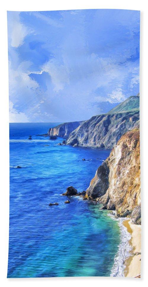 California Bath Sheet featuring the painting Hidden Beach At Big Sur by Dominic Piperata