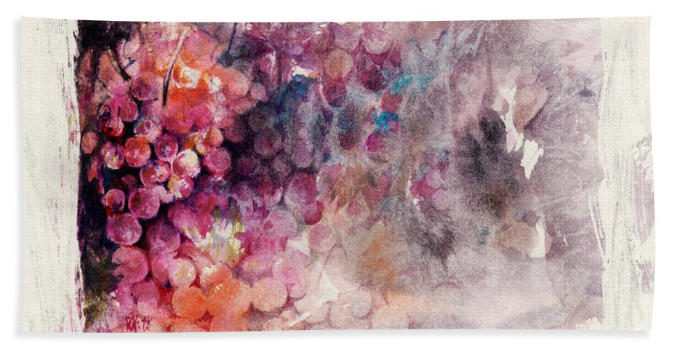 Grapes Bath Towel featuring the painting Hidden Beauty by Rachel Christine Nowicki