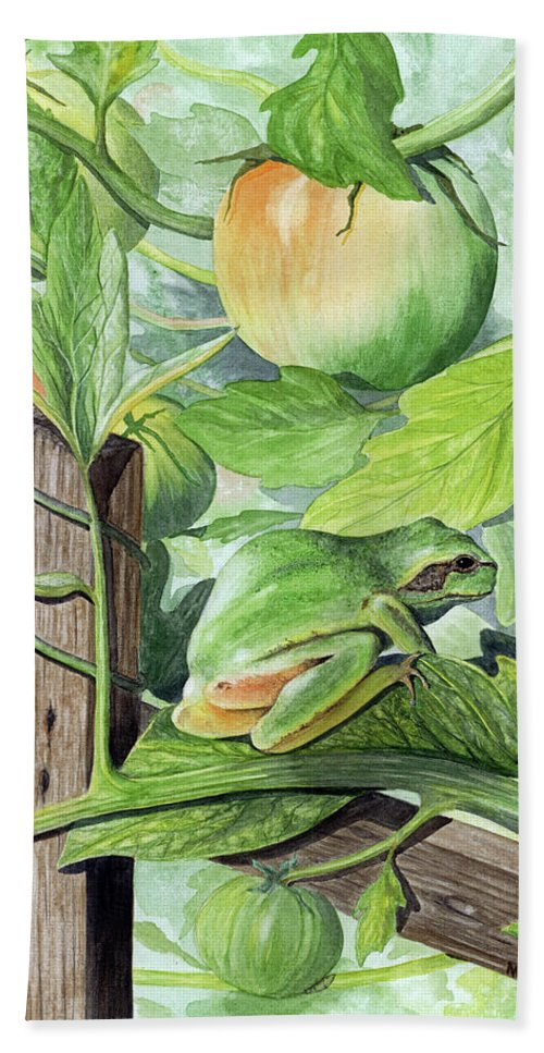 Frog Bath Sheet featuring the painting Hidden II by Mary Tuomi