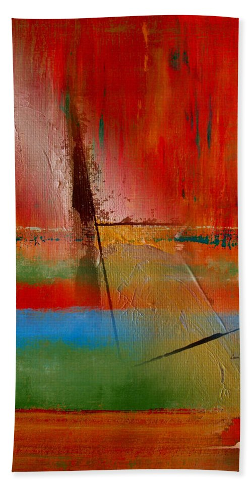 Abstract Bath Sheet featuring the painting Hidden Inside The Lines by Ruth Palmer