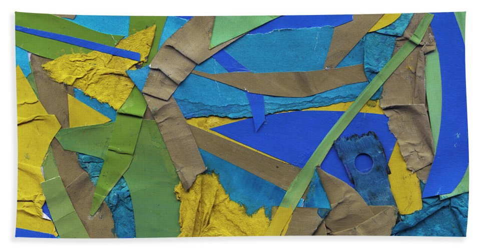 Collage Bath Sheet featuring the mixed media Hidden Island by Shawna Rowe