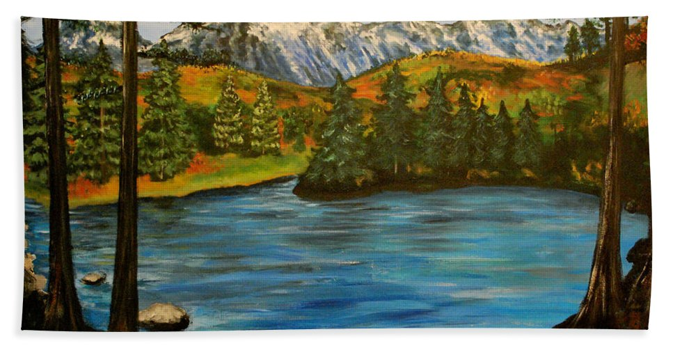 Landscape Hand Towel featuring the painting Hidden Lake by Nancy Mueller