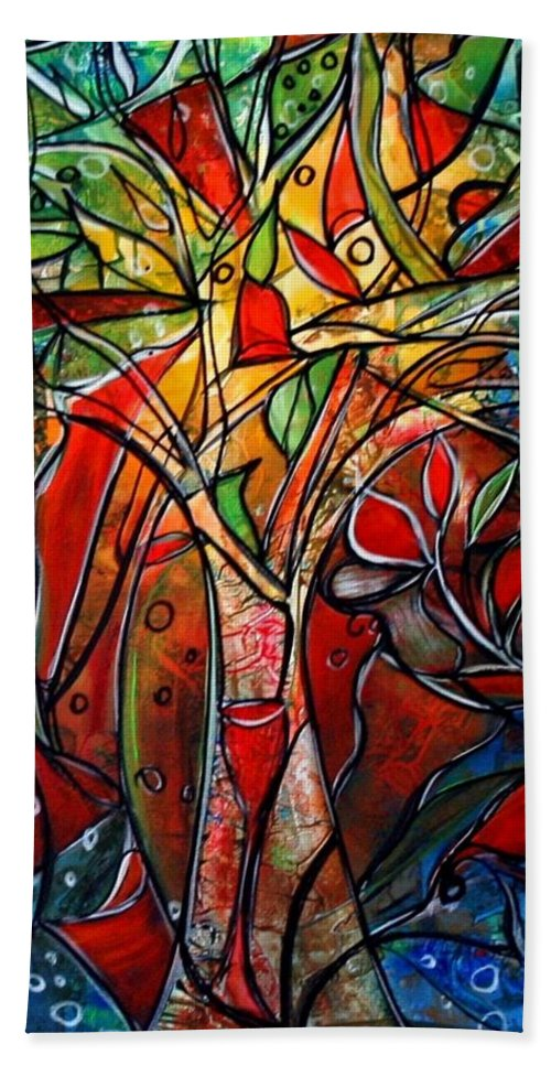 Landscape Hand Towel featuring the painting Hidden Treasure by Luiza Vizoli