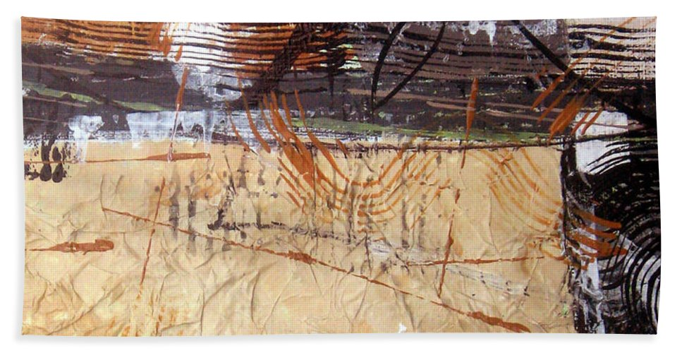 Abstract Hand Towel featuring the painting Hidden Treasures II by Ruth Palmer