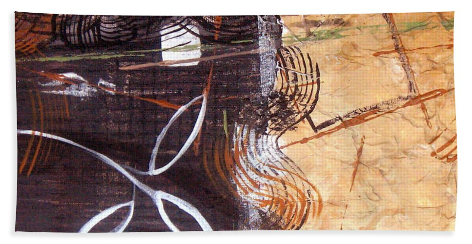 Abstract Hand Towel featuring the painting Hidden Treasures by Ruth Palmer