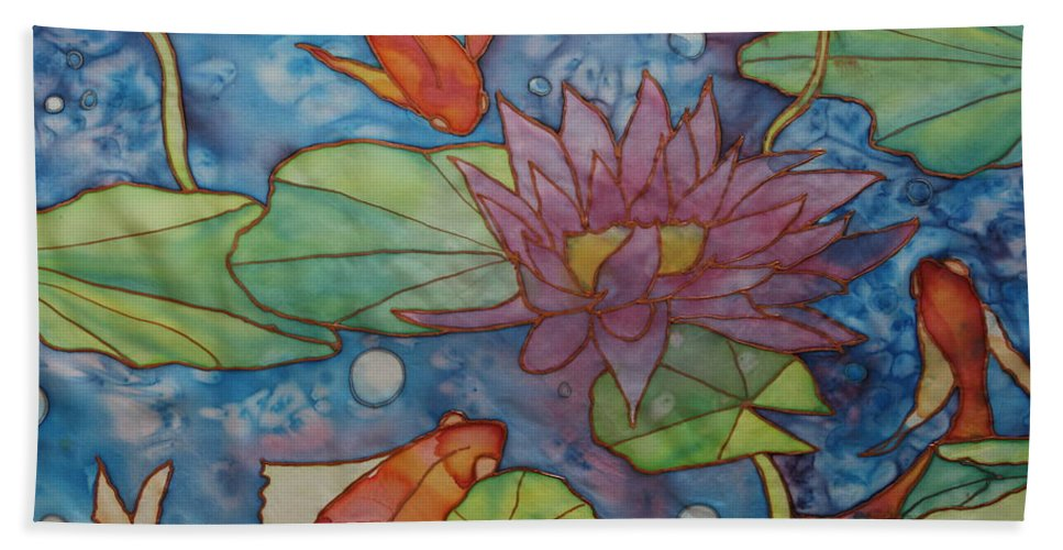 Gold Fish Hand Towel featuring the painting Hide And Seek by Ruth Kamenev