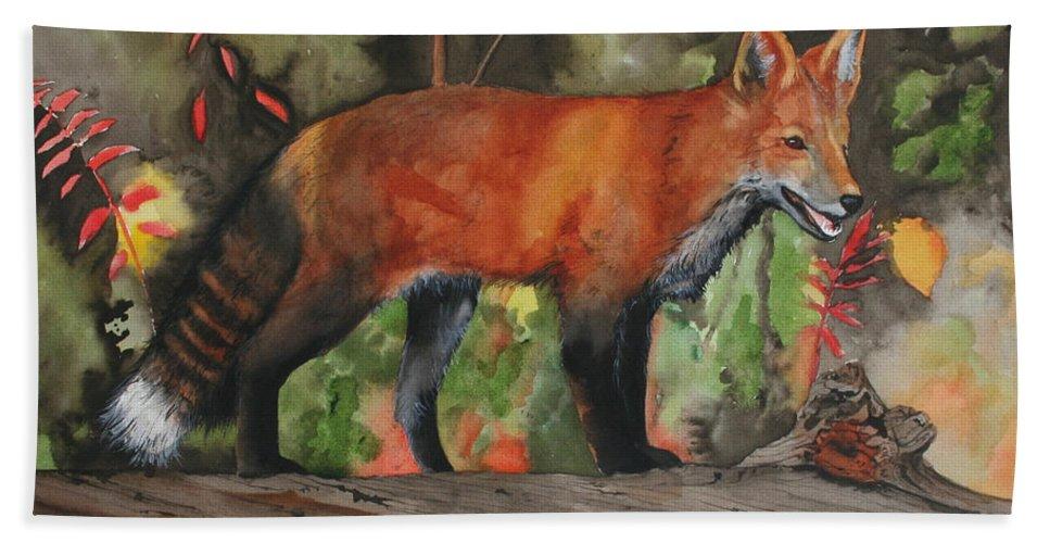 Fox Bath Sheet featuring the painting Hiding In Plain Sight by Jean Blackmer