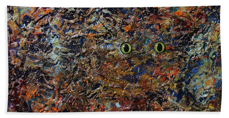 Cat Bath Towel featuring the painting Hiding by James W Johnson