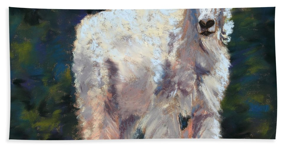 Mountain Goat Bath Sheet featuring the painting High Country Friend by Mary Benke