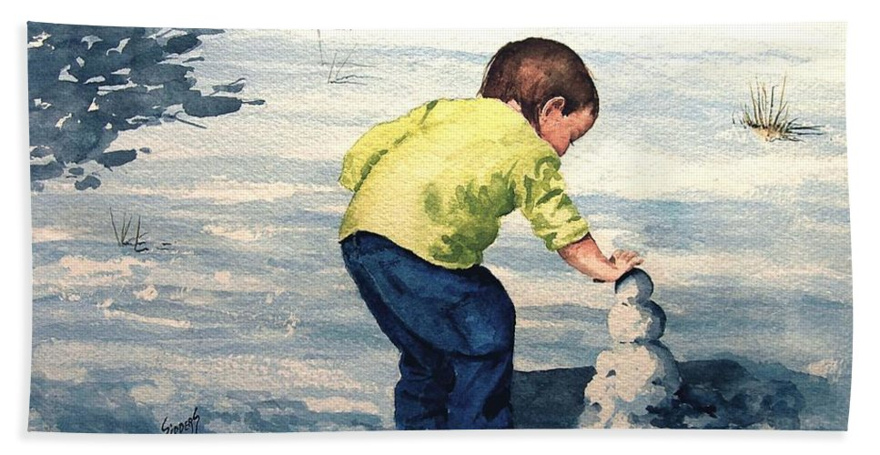 Child Hand Towel featuring the painting High Country Snow Girl by Sam Sidders