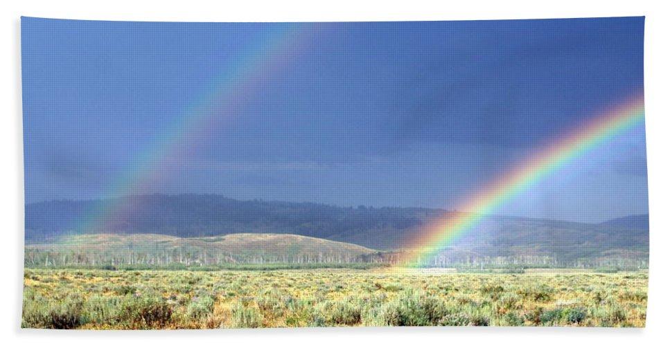 Rainbow Bath Sheet featuring the photograph High Dessert Rainbow by Marty Koch