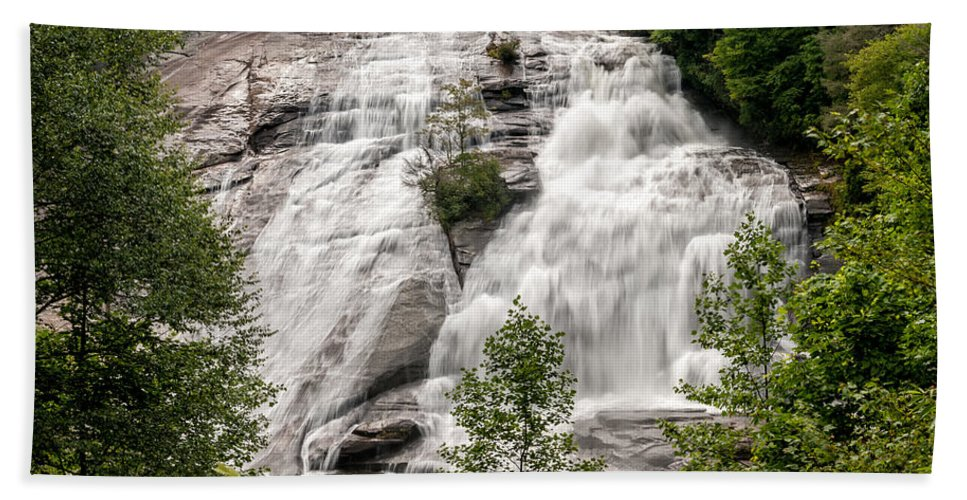 High Falls Hand Towel featuring the photograph High Falls At Dupont Forest by Donald Spencer