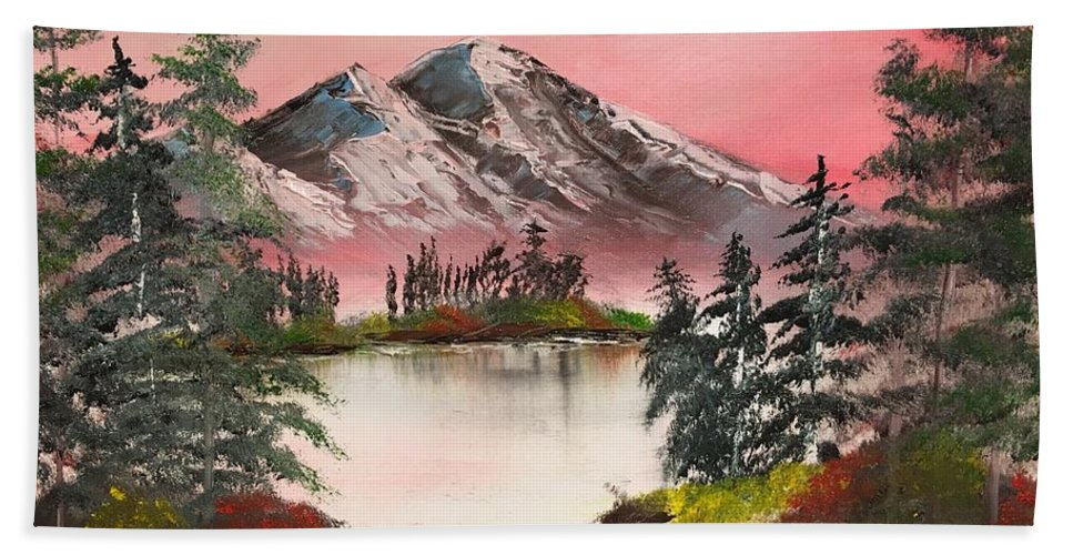 Sonny Sinay Bath Sheet featuring the painting High Lakes Summer Sunset by Sonny Sinay