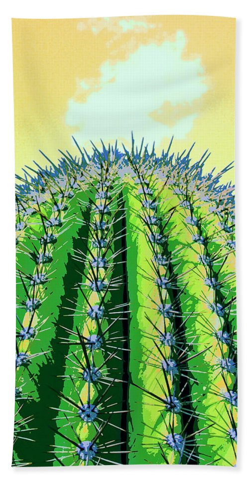 Cactus Hand Towel featuring the mixed media High Noon by Dominic Piperata