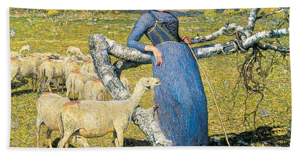 Giovanni Segantini Bath Towel featuring the painting High Noon In The Alps by Giovanni Segantini