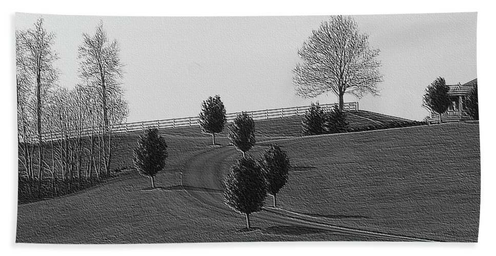 Country Hand Towel featuring the photograph High On A Hill by Kathleen Struckle