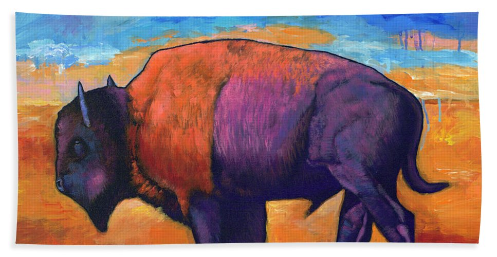 Animals Hand Towel featuring the painting High Plains Drifter by Johnathan Harris