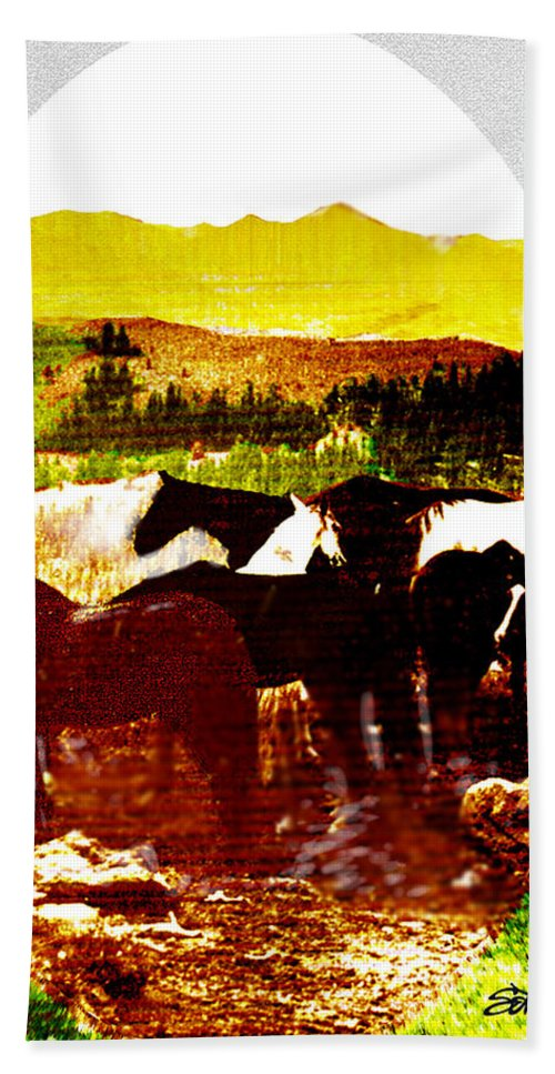 Mustangs Hand Towel featuring the digital art High Plains Horses by Seth Weaver