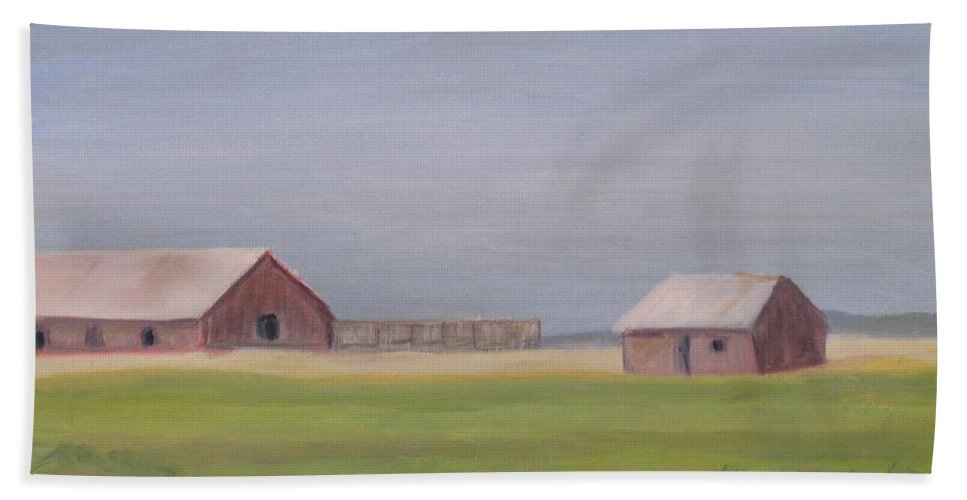 Landscape Plains Barn Bath Sheet featuring the painting High Plains by Patricia Caldwell