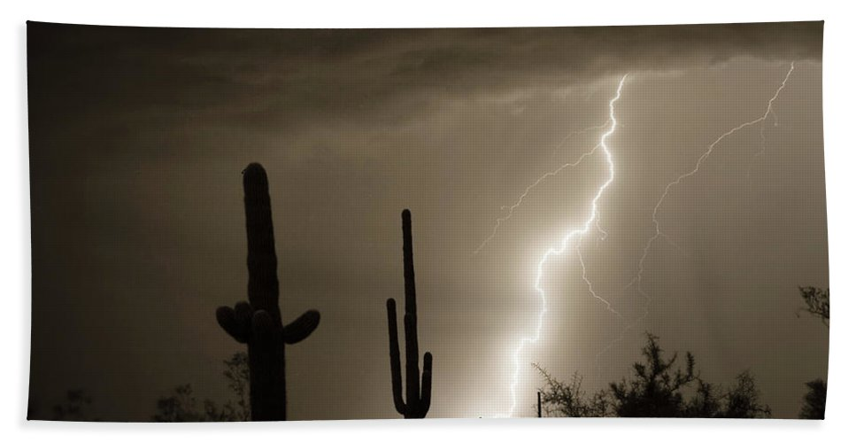 Lightning Hand Towel featuring the photograph High Southwest Desert Lightning Strike by James BO Insogna