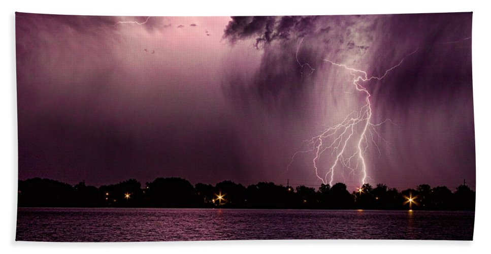 Lightning Hand Towel featuring the photograph High Strike by James BO Insogna