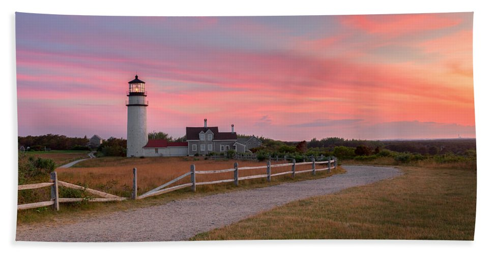 Lighthouse Hand Towel featuring the photograph Highland Light Sunset 2015 by Bill Wakeley