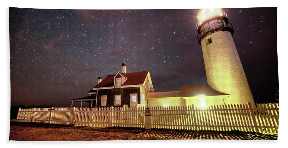 Truro Hand Towel featuring the photograph Highland Light Truro Massachusetts Cape Cod Starry Sky Shadow by Toby McGuire