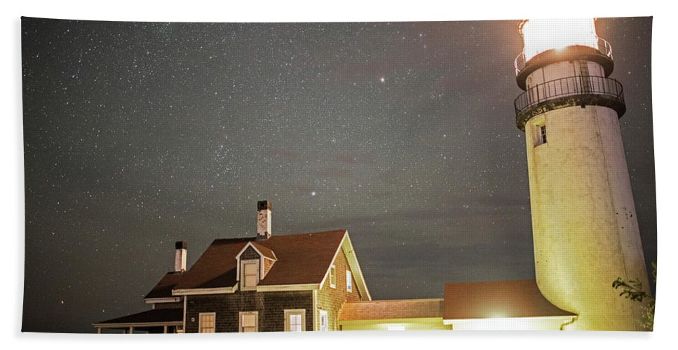 Truro Hand Towel featuring the photograph Highland Light Truro Massachusetts Cape Cod Starry Sky by Toby McGuire