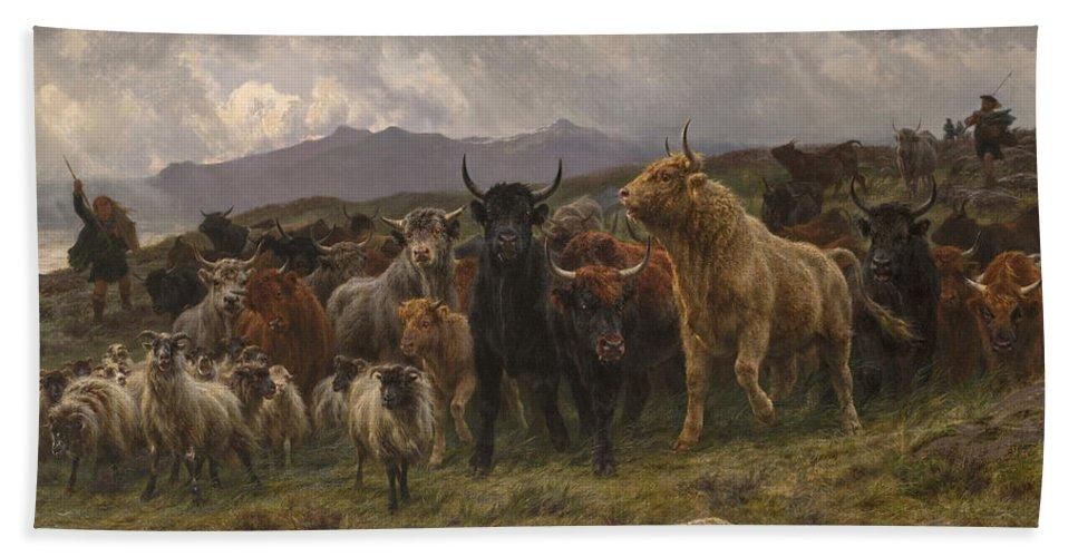 Rosa Bonheur Bath Sheet featuring the painting Highland Raid by Rosa Bonheur