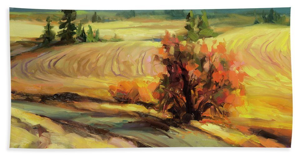 Country Hand Towel featuring the painting Highland Road by Steve Henderson