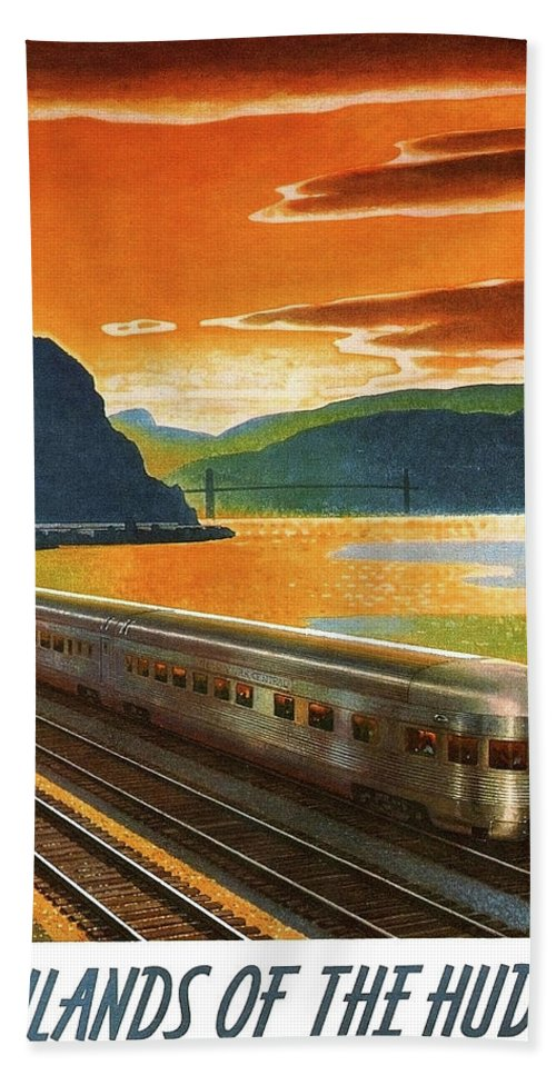 Highlands Hand Towel featuring the painting Highlands Of Hudson, Railway, Train by Long Shot